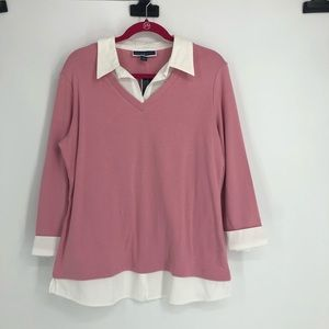 Karen Scott pink and white collared 3/4 sleeve top